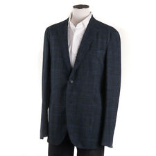NWT $1575 BOGLIOLI Teal Check Wool-Linen 'K Jacket' Sport Coat 42 R (Eu 52)