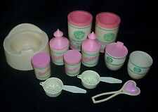 VINTAGE CABBAGE PATCH KIDS BABY PLASTIC SET CHAIR COTTON POWER RATTLE SIPPY CUP
