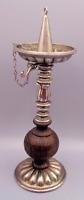 Vintage Wood Silver Tone Metal Candelabra w/ Snuffer Candle Stick Holder