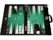 "Wycliffe Brothers 21"" Tournament Backgammon Set - Black Board, Green Field"