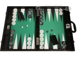 "Wycliffe Brothers 21"" Tournament Backgammon Set - Black Board, Green Field"