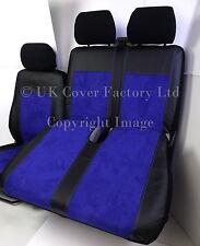 FORD TRANSIT CUSTOM VAN SEAT COVERS BLUE ALCANTARA WHITE STITCH TAILORED P70BU