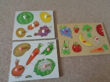 wooden puzzle fruit & veg lift out pick and place