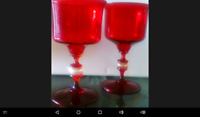 Murano Venetian Style Hand Blown Ruby Red Glass Goblets/Wine Glasses (TWO).
