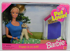 NRFB-1998-PET LOVIN`BARBIE DOLL-COMES WITH BABY GOLDEN RETRIEVER & A LEASH-NEW