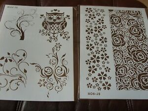A4 Layering Stencils Templates Scrapbooking, Craft  DIY  Owl and Backgrounds