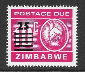 🇿🇼 Zimbabwe - 1990 Postage Due 25c on 10c  Scott J30 SG D33