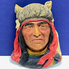 Bosson Legend Chalkware face bust figurine wall hanging Crazy Horse signed chief