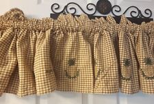 VTG gingham brown checkered PINEAPPLE valances lined rod pocket top rustic charm