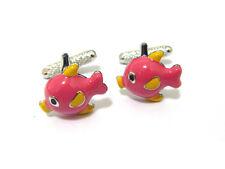 Mens Pink Tropical Fish Cufflinks & Gift Box By Onyx Art