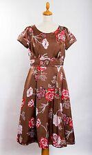 M&S PER UNA vintage look '50's layered skirt satin dress belt waist flared UK 12