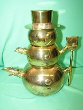 Snowman Stackable Tea Pot Creamer and Sugar Bowl with Hat * Gold Tone * Godinger