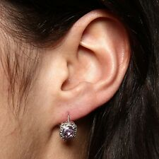 Purple Amethyst Tiny Diamond Leverback Earrings 14k White Gold over 925 SS