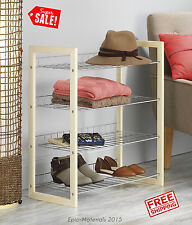 4 Tier Shelving Closets Rack Organized Sweater Shoes Storage Chromed Wire Wooden