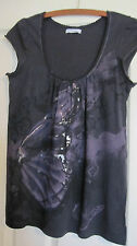 CHARCOAL scoop neck top  dusty purple-silver butterfly design size S near new