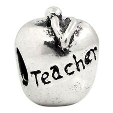 Teacher Apple Fruit Food Word Gift 3D Charm for Silver European Bead Bracelets