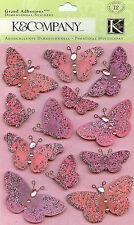 Valentines Day Glitter Butterfly Smitten 3D Scrapbook Stickers K&Company New
