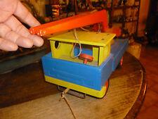 Ancien Jouet de Plancher en Bois à tirer Camion Grue Wooden Crane Truck Toy