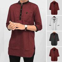 Men's Kurta Linen Shirt Top Tunic Indian Vneck Kurta Short Kaftan T shirt Blouse