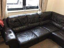 RRP £2999 MARKS AND SPENCERS BROWN LEATHER ABBEY CORNER SOFA CHAISE - SEE PICS
