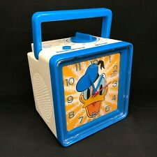 Vintage Disney DONALD DUCK Bradley Time AM/FM Radio Alarm Clock Blue Square Cube