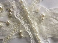 White Lace & Pearl Beaded Trimming Vintage Style Bridal Wedding Ribbon El