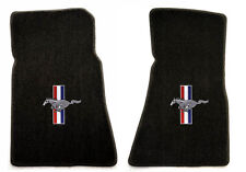 NEW! 1964-1973 Black Front Floor Mats Mustang Pony Bars Embroidered Logo Pair