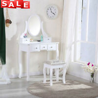 White Dressing Table With Stool 5 Drawers Bedroom Makeup Desk Oval Mirror Chic