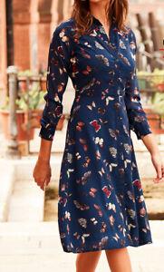 Sosander Butterfly Print Western Detail Shirt Dress - Navy - Size 8 New RRP £69