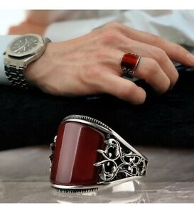 Turkish 925 Sterling Silver Handmade Jewelry Agate Aqeeq Stone Men's Ring