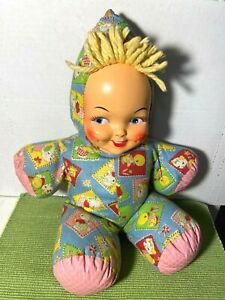 """Cute VINTAGE 1940-50's Rubber Face 15"""" Stuffed Plush Cloth Carnival Toy Doll VGC"""