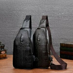 Men Crocodile Pattern Backpack Crossbody Sling Bag Chest Shoulder Leather Bag