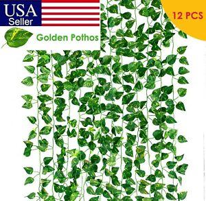 12 PCS Artificial Ivy Leaf Plants Fake Hanging Garland Plants Vine Home Decor
