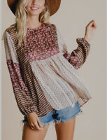 M Boho Bohemian Sheer Floral Blouse Top Medium Peasant Sleeves New Nwt