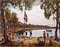 The Founding of Australia by Algernon Talmage. History Repro on Canvas or Paper