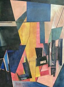 LAURIE NORMAN (1927-2019) SIGNED OIL - GEOMETRIC ABSTRACT CUBIST SHAPES & COLORS