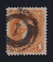 """Canada Sc #23 (1869) 1c yellow orange Large Queen """"1"""" 4-Ring Numeral VF Used"""