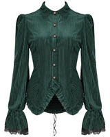 Punk Rave Womens Gothic Steampunk Blouse Top Shirt Green Velvet Victorian Corset