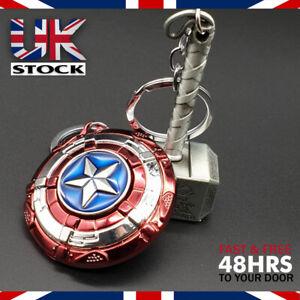 Marvel Avengers Endgame Captain America Shield & Hammer Mjolnir Keyring/Keychain