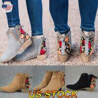 Womens Retro Embroidered Ankle Boots Ladies Casual Slip On Low Heel Winter Shoes