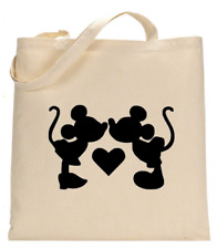 Shopper Tote Bag Cotton Canvas Cool Mickey Mouse love Kiss Ideal Gift Present