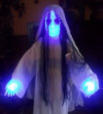 """HALLOWEEN ANIMATED LIGHTED SCARY GHOST DEMON GIRL FIGURE PROP THE RING 36"""" SOUND"""
