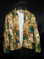 Chico's 3 XL Brown Green Blue Print Shirt Jacket Open Front Blazer Cotton Topper