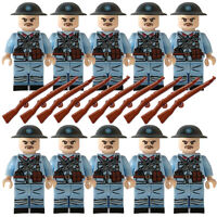 WW2 Army Military French Soldiers Rifles Chinese Mini Figures Toy Fits lego