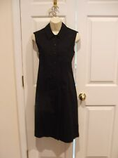 casual corner annex 100% cotton black button front sleeveless dress size 6