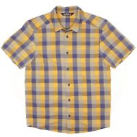 Arxteryx Mens Shirt S Bright Yellow Blue Check Plaid Short Sleeve Button Front