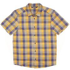 Arxteryx Mens Shirt S Bright Yellow Blue Check Plaid Short Sleeve Button Front
