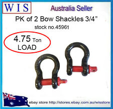 """PK of 2 Bow Shackles & Pins,4.75T Rated 3/4""""(19mm) 4WD Recovery,Screw Pin-45961"""
