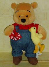Rare Retired Disney Farmer Winnie the Pooh Bean Bag Plush Holding a Chicken EUC!