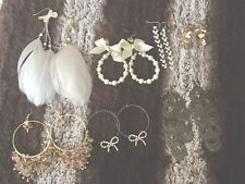 Lot of (7) Earrings Feather, Faux Pearls, Dangly, Rhinestones, Silver/Gold Tones